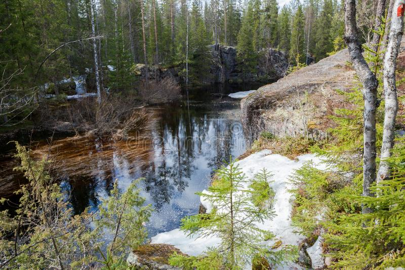 Flooding river and piece of ice in forest. At spring stock image