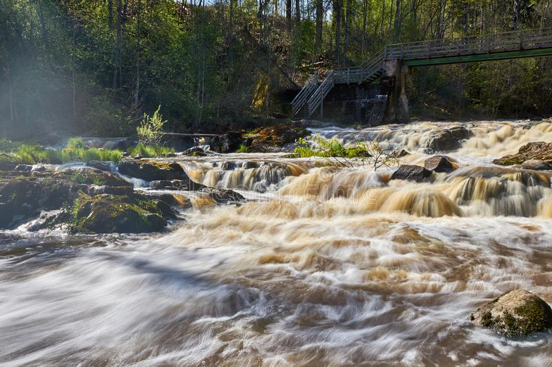 Flooding river streaming fast royalty free stock photography