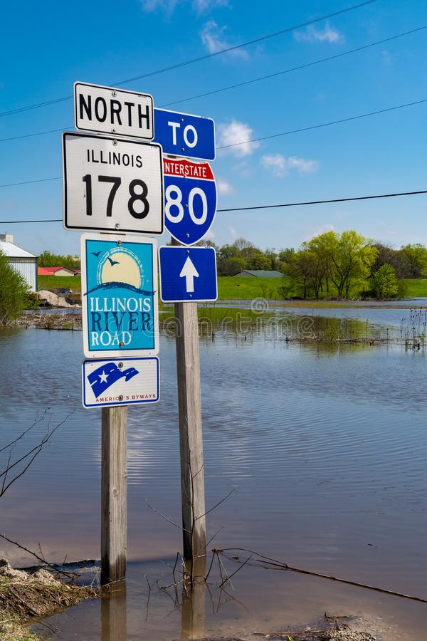 Flooding in Utica. Partially submerged road signs in Utica, Illinois as the Illinois River crests.  May 3rd, 2019 stock photography