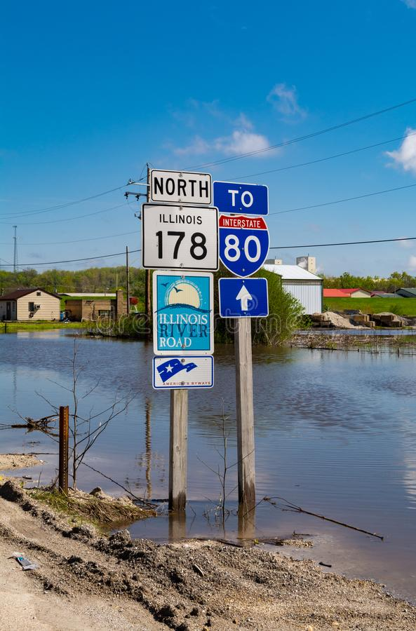 Flooding in Utica. Partially submerged road signs in Utica, Illinois as the Illinois River crests.  May 3rd, 2019 stock photos