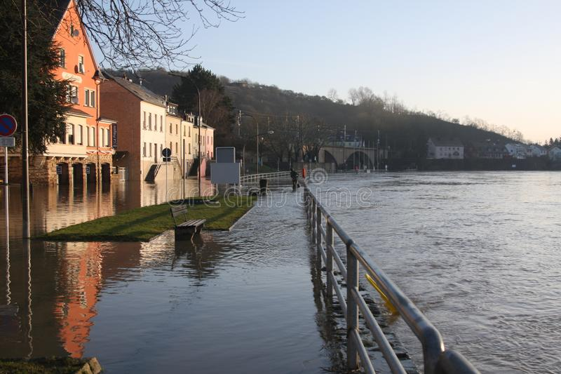 Flooding in Wasserbillig, Luxembourg, January 2018. The Moselle river flooding the town of Wasserbillig, Luxembourg, January 2018 stock photo