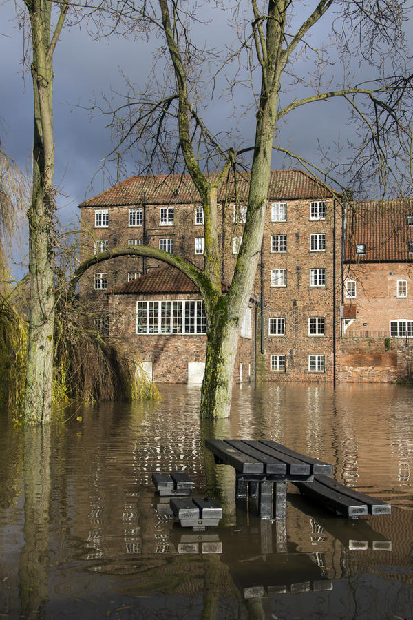 Flooding - Yorkshire - England. Flooding after the River Derwent burst its banks in the village of Stamford Bridge in North Yorkshire in northeast England. (27th royalty free stock image