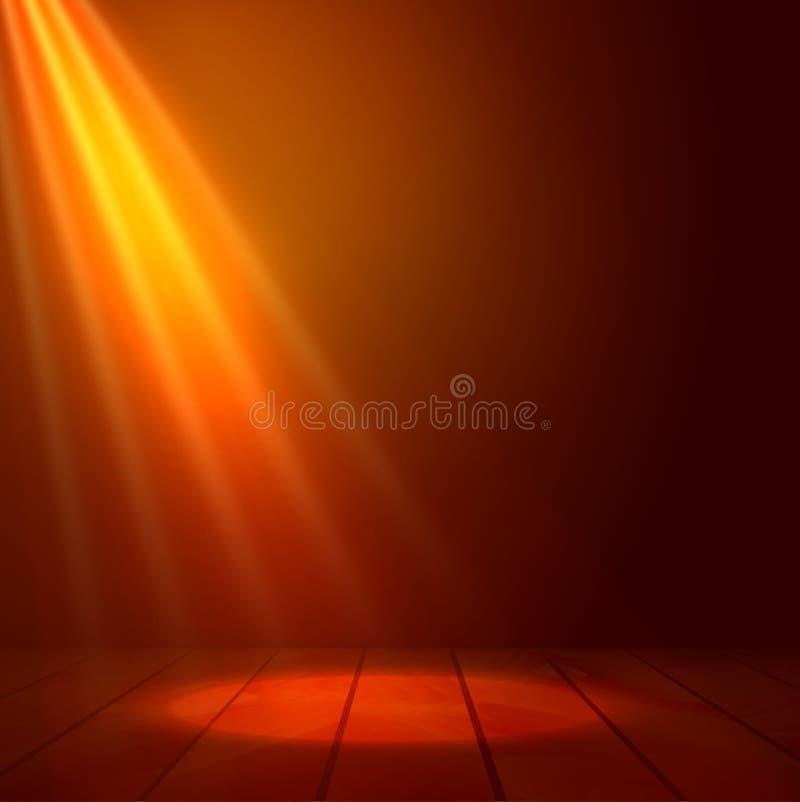 Floodlight światło reflektorów iluminuje drewnianą scenę Błyskowy światło na scenie Presenatation lub występu tła wektoru ilustra ilustracji