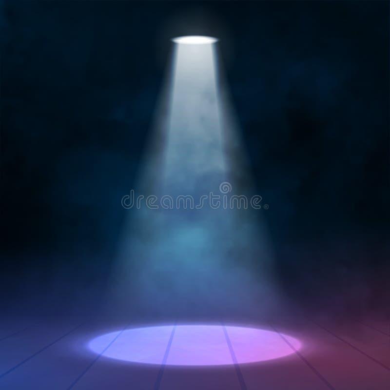 Floodlight światło reflektorów iluminuje drewnianą scenę również zwrócić corel ilustracji wektora ilustracji