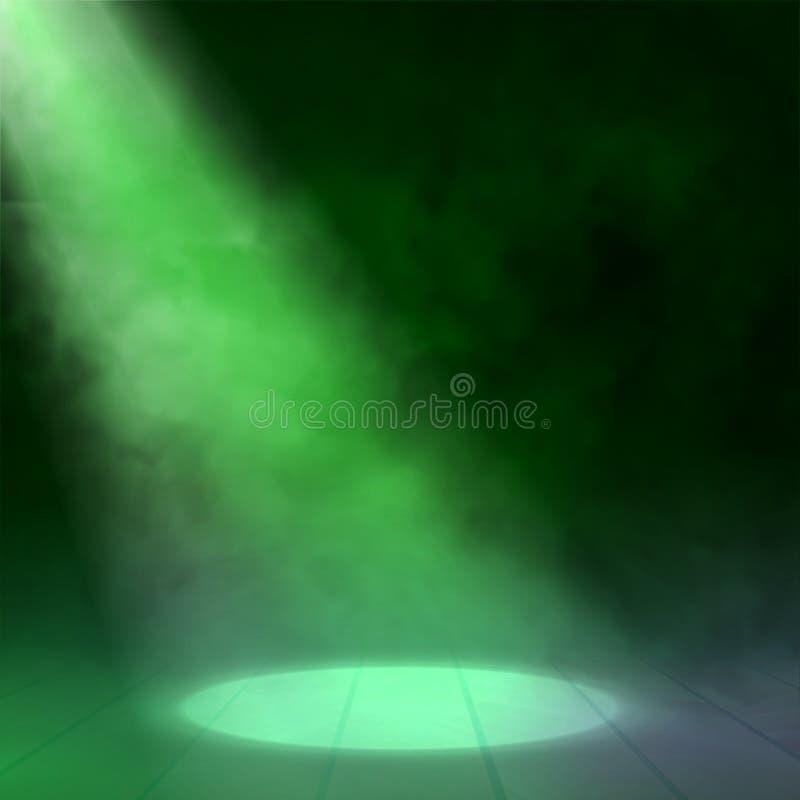 Floodlight światło reflektorów iluminuje drewnianą scenę również zwrócić corel ilustracji wektora ilustracja wektor
