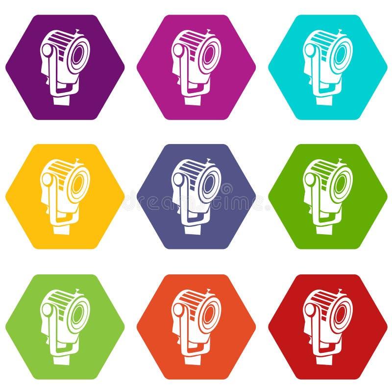 Floodlight ikony ustawiają 9 wektor royalty ilustracja