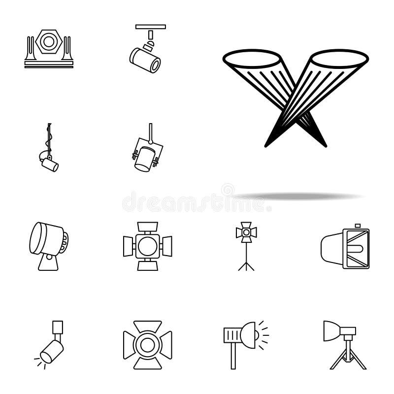 floodlight oświetleniowa ikona Światło reflektorów ikon ogólnoludzki ustawiający dla sieci i wiszącej ozdoby royalty ilustracja