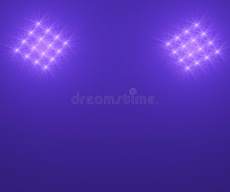 Floodlights i nattskyen vektor illustrationer