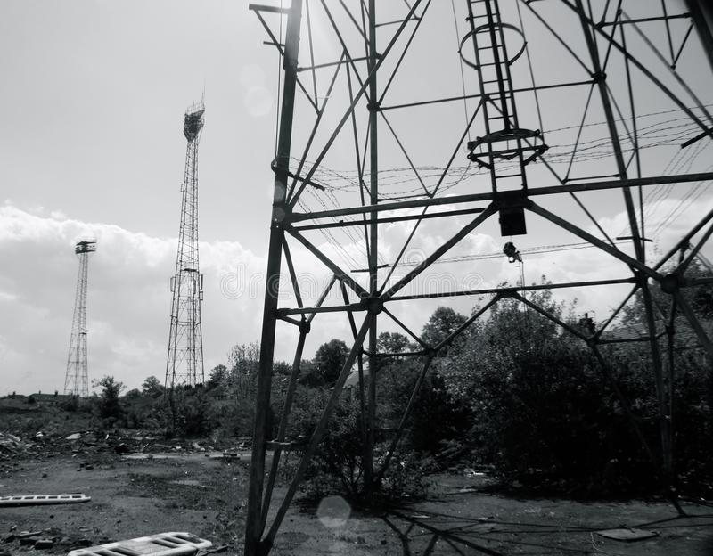 Floodlights about to be demolished royalty free stock photo