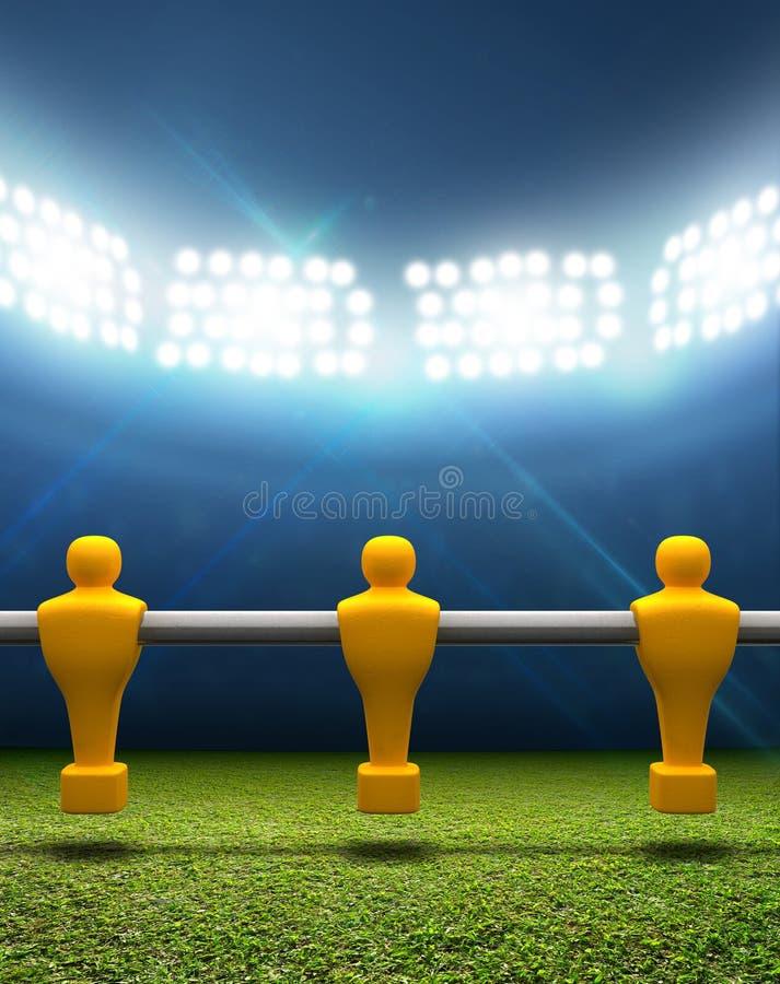 Floodlit стадион с игроками Foosball стоковое фото