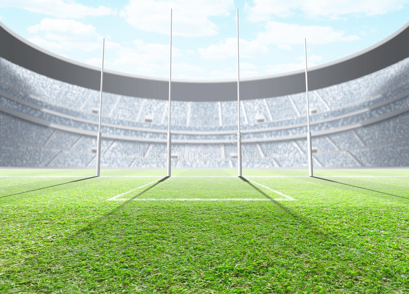 Floodlit Stadium Day. A generic seated aussie rules stadium showing goal posts on a green grass pitch in the day time under a blue cloudy sky - 3D render vector illustration