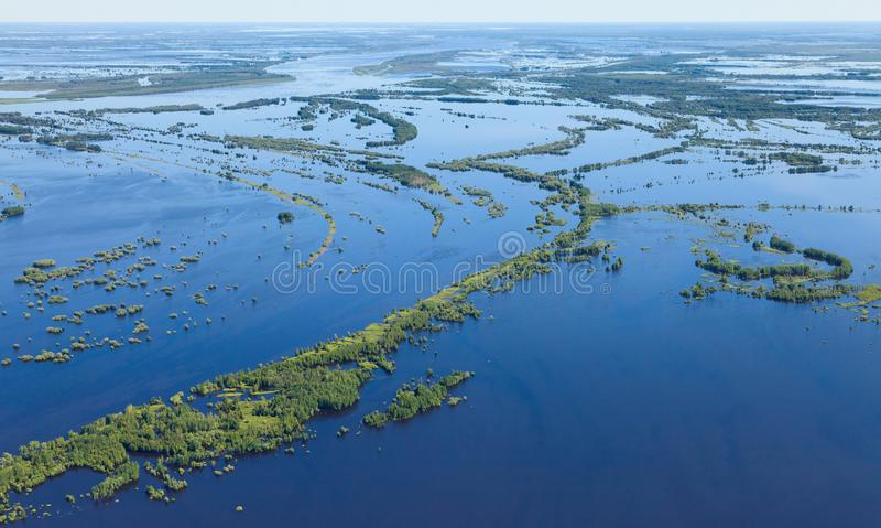 Floodplain of Great river in spring, top view. Flooding of bottom land of the Big Siberian river Ob in spring period, top view royalty free stock photo