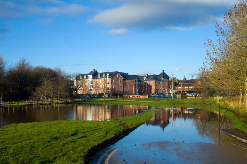 Floods. On the River Trent at Stone in Staffordshire after the recent rain stock photos