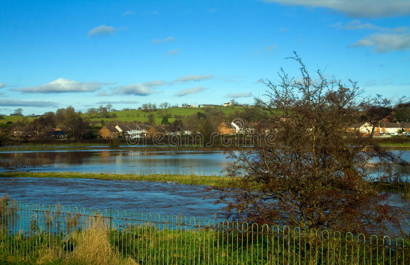 Floods. On the River Trent at Stone in Staffordshire after the recent rain royalty free stock photo