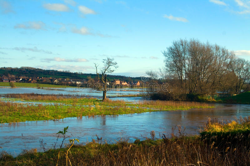 Floods. On the River Trent at Stone in Staffordshire after the recent rain royalty free stock image