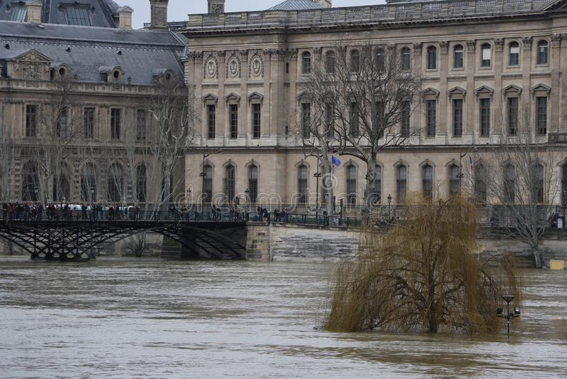 Floods in the city of Paris stock photo