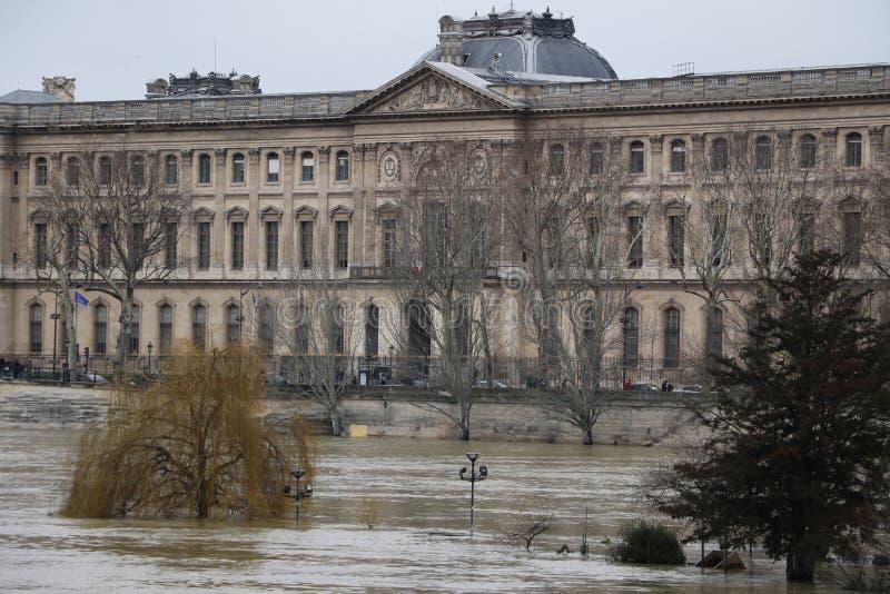 Floods in the city of Paris stock photos