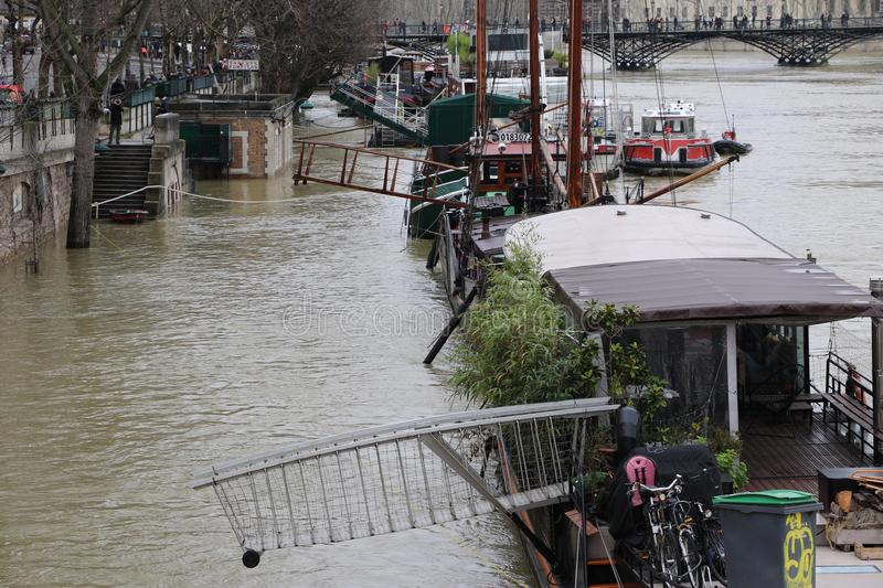 Floods in the city of Paris royalty free stock image