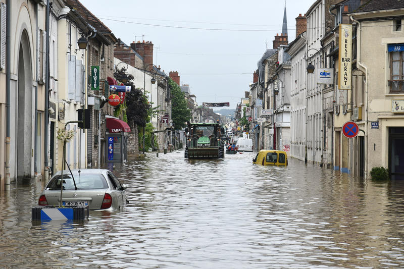 Floods on the town of nemours. Terrible floods in the town of nemours in france in june 2016 royalty free stock photo
