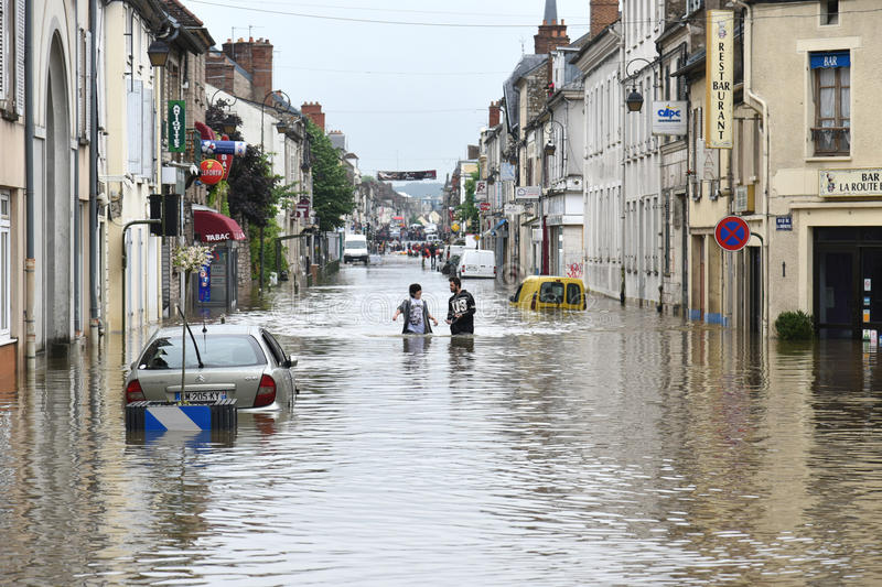 Floods on the town of nemours. Terrible floods in the town of nemours in france in june 2016 stock image