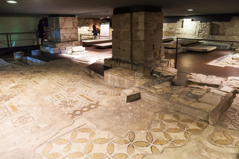 Floor of ancient church Santa Reparata in crypt royalty free stock photography