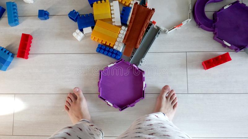 Floor children room interior. Toys kids top view stock photos