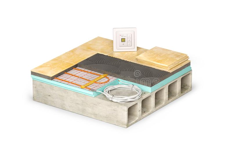 Floor concept with electric heating. Schematic section. 3d illustration, on white background stock photography