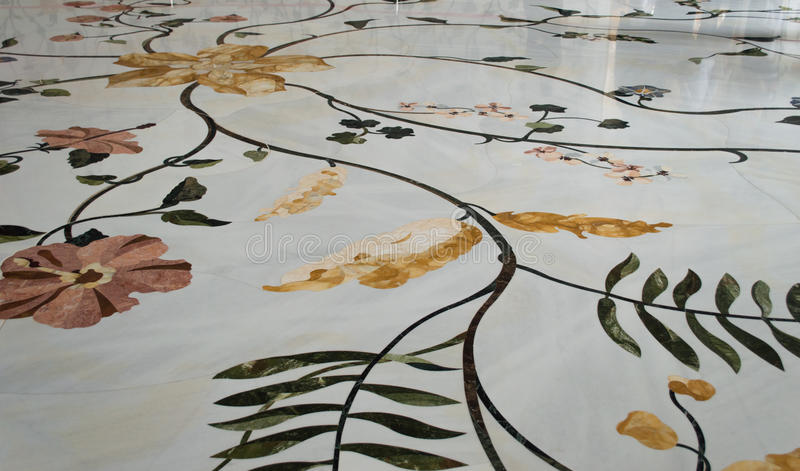 Floor decoration in Sheikh Zayed Mosque stock images