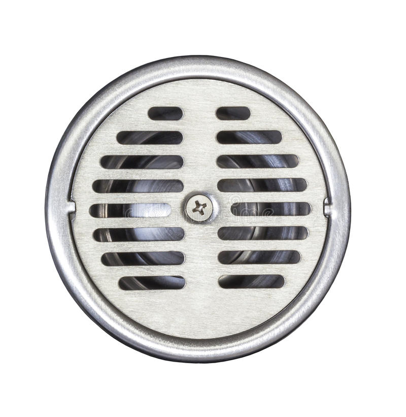 Floor drain on white. Stainless steel floor drain isolated on white with clipping path stock images