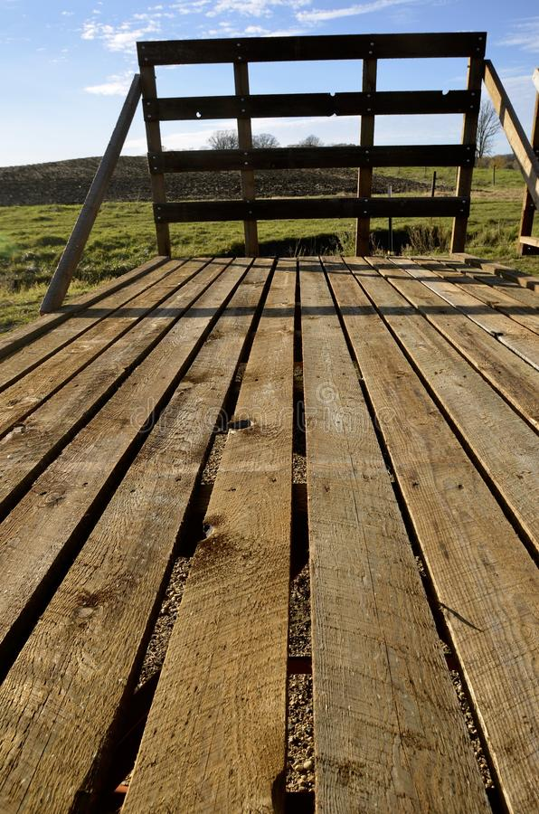 Floor of a hayrack. Wooden floor of a hayrack for hauling straw and hat bales royalty free stock photos