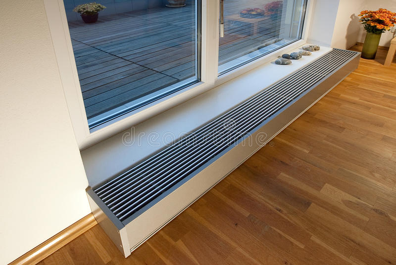 Floor heating. Modern style floor heating in the new apartment royalty free stock image