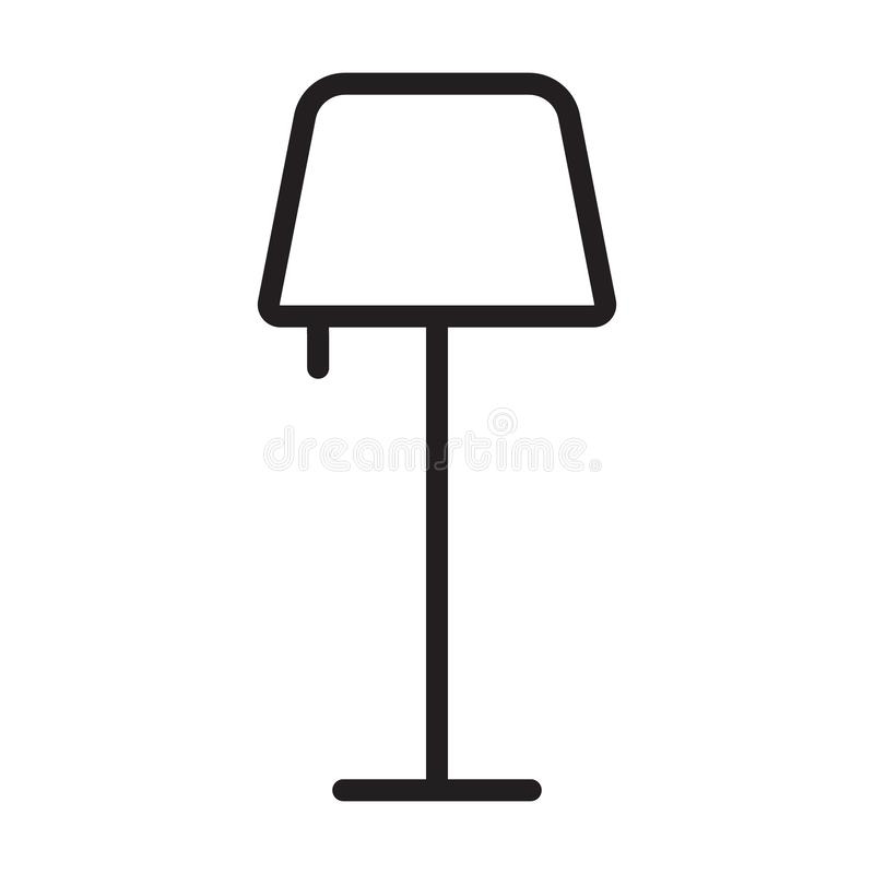 Floor lamp outline icon. linear style sign for mobile concept and web design. Night lamp simple line vector icon. Vector illustration isolated on white royalty free illustration