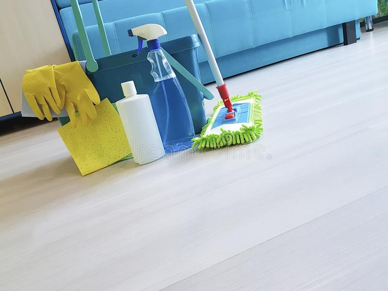 Floor Mop container for cleaning in the room stock image