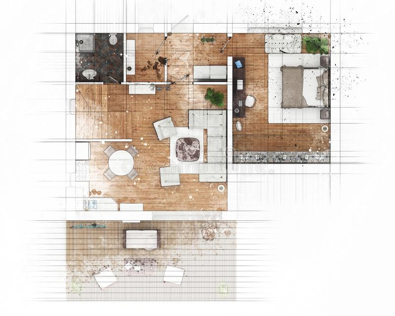 Floor plan sketch stock illustration