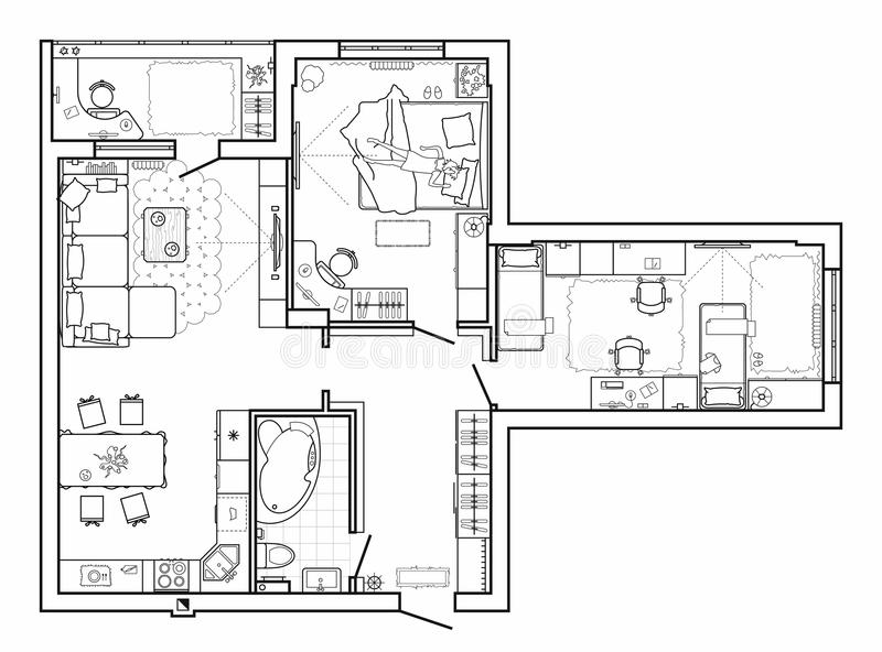 Floor plan with furniture in top view. Architectural set of furniture thin line icons. Detailed layout of the modern apartment. Ve vector illustration
