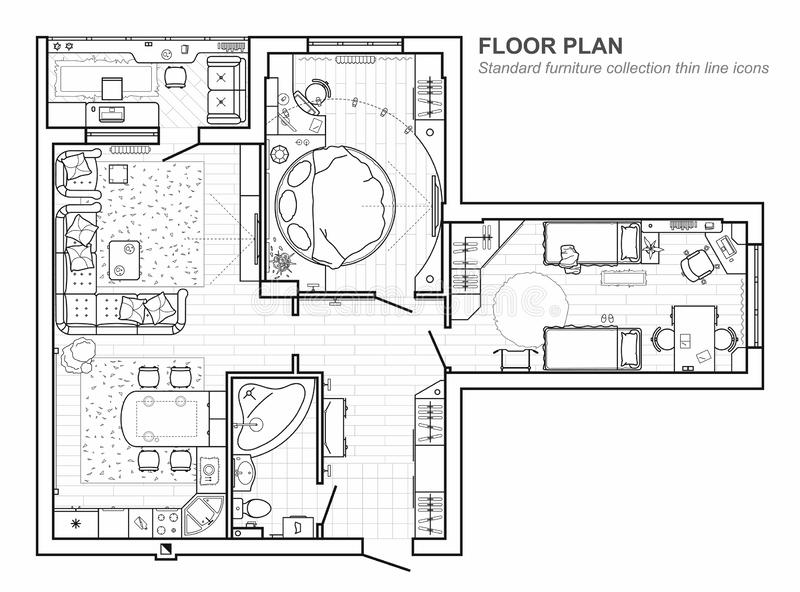 Floor plan with furniture in top view. Architectural set of furniture thin line icons. Detailed project of the modern apartment. vector illustration