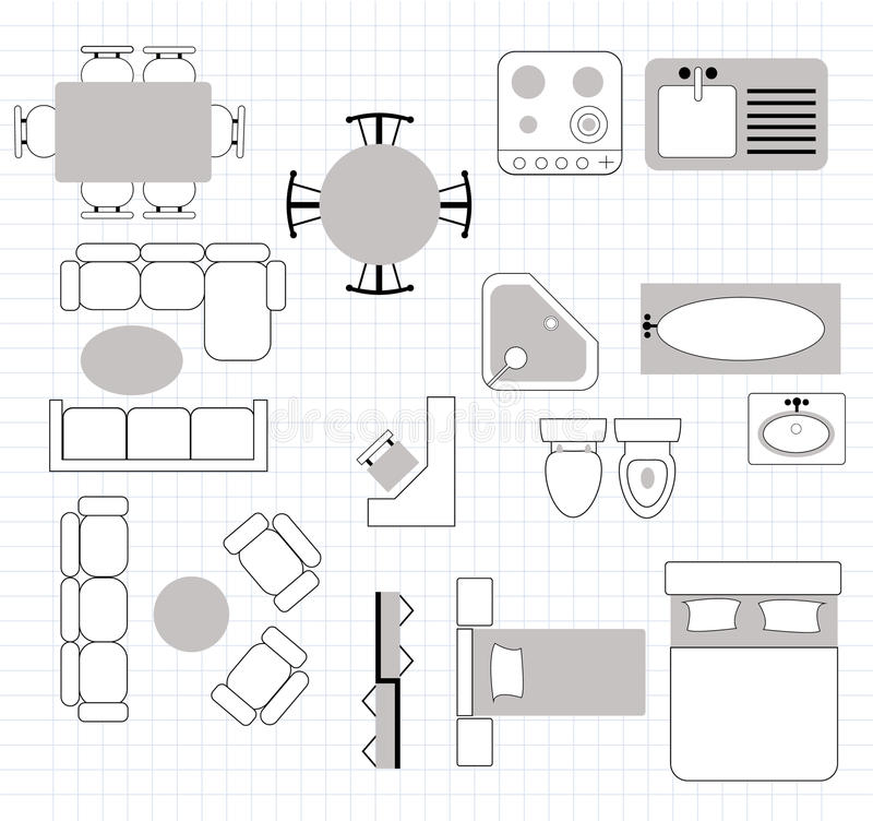 Floor Plan Furniture Vector. Home Furniture Top View Floor Plan ...