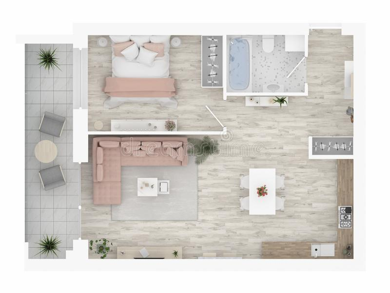 Floor plan of a home top view. Open concept living apartment layout vector illustration