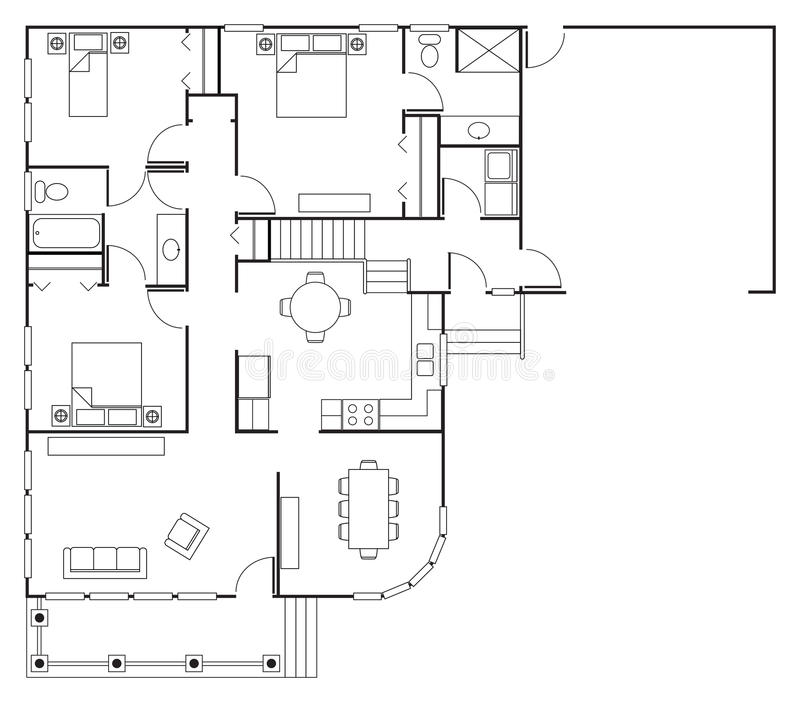 Floor Plan House stock illustration