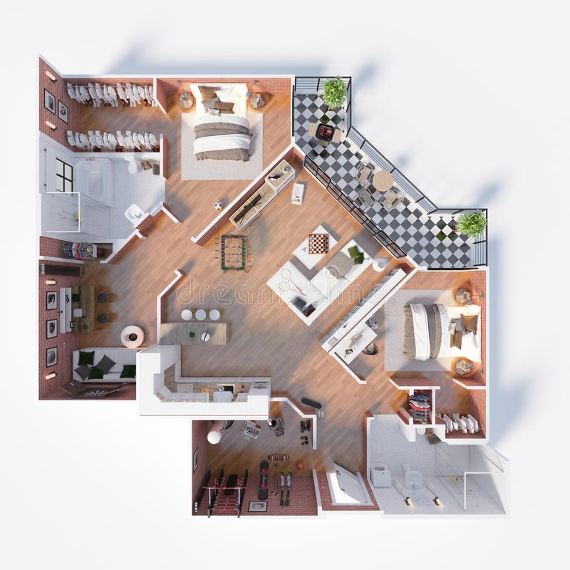 Floor plan of a house top view 3D illustration. Open concept living appartment layout vector illustration