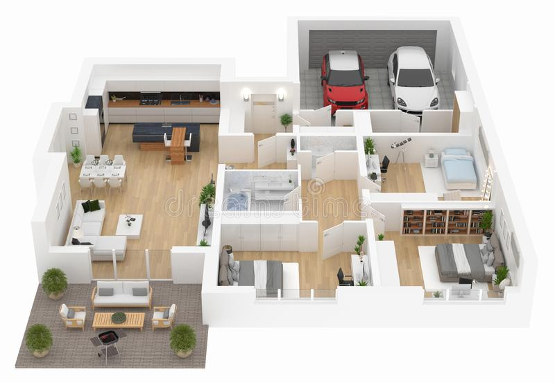Floor plan of a house top view. Open concept living appartment layout. Floor plan of a house top view 3D illustration. Open concept living appartment layout royalty free illustration