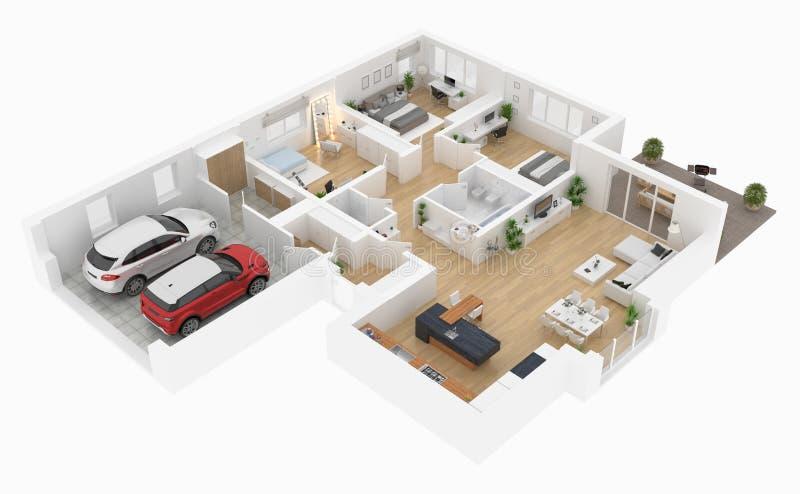 Floor plan of a house top view. Open concept living appartment layout. Floor plan of a house top view 3D illustration. Open concept living appartment layout vector illustration