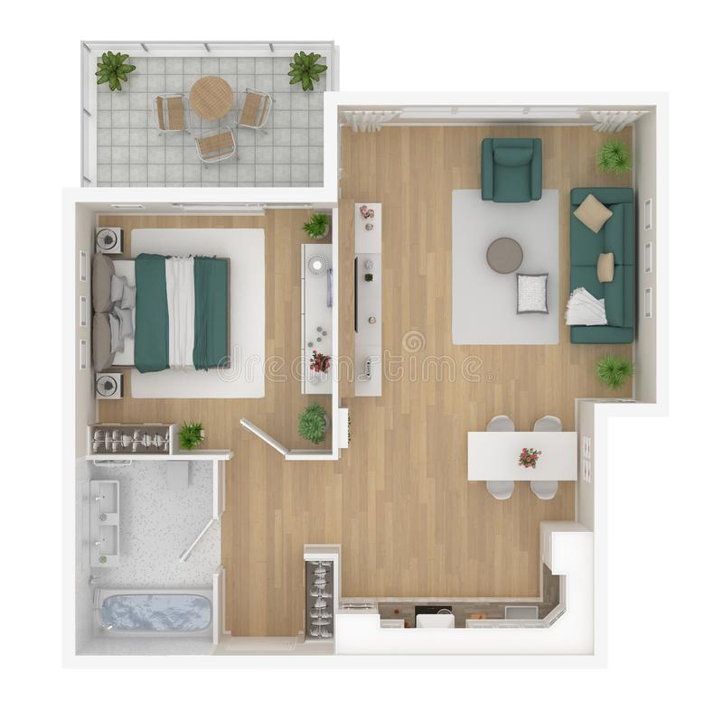 Floor plan of a house top view. Open concept living appartment layout. Floor plan of a house top view 3D illustration. Open concept living appartment layout stock illustration