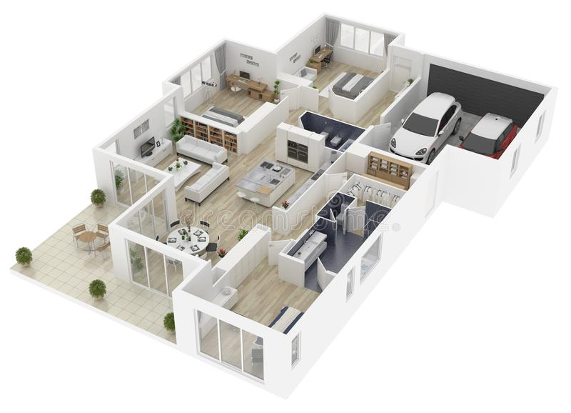 Floor plan of a house top view 3D illustration. royalty free illustration