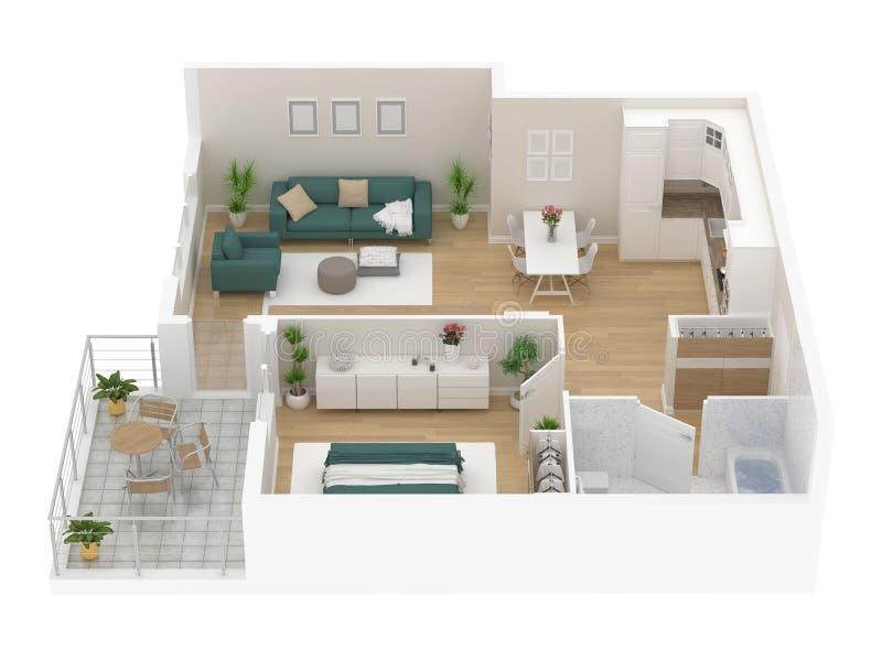 Floor plan of a house top view. Open concept living appartment layout. Floor plan of a house top view 3D illustration. Open concept living appartment layout stock illustration