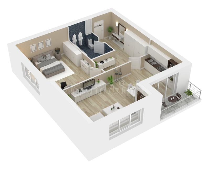 Floor plan of a house view 3D illustration royalty free illustration
