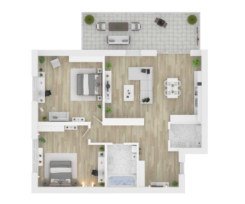 Floor plan of a house view 3D illustration stock illustration