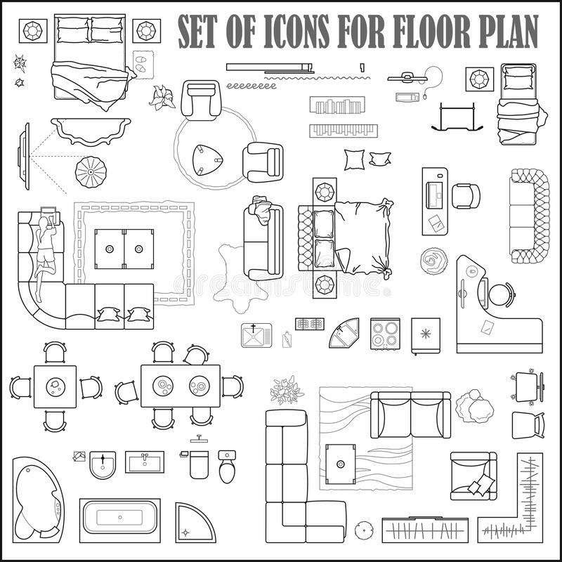 Floor plan icons set for design interior and architectural project view from above. Furniture thin line icon in top view for lay royalty free illustration
