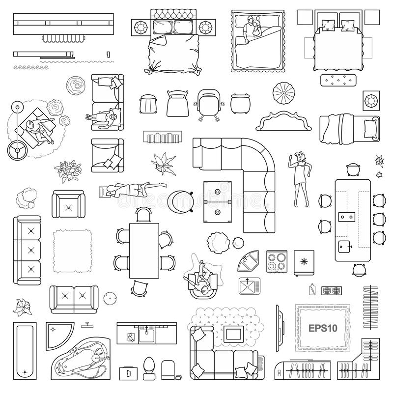 Floor plan icons set for design interior and architectural project view from above. Furniture thin line icon in top view stock illustration
