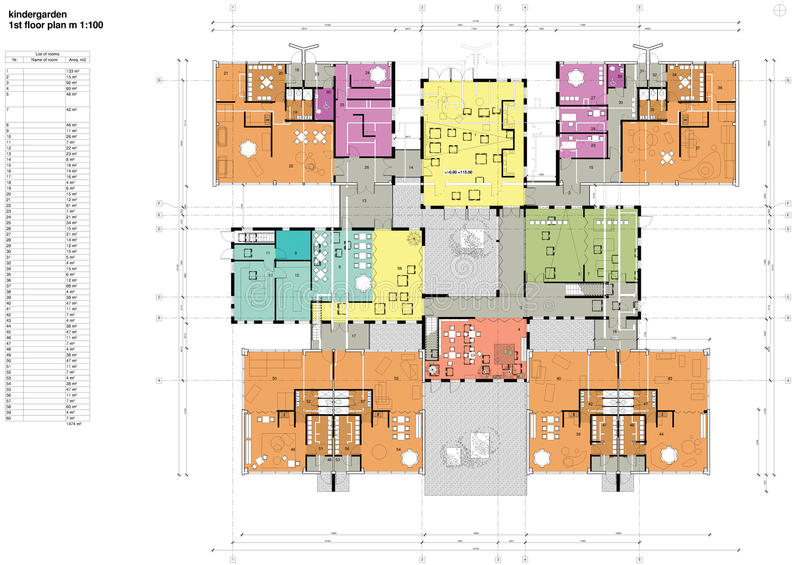 Floor Plan Of The Kindergarten Stock Image - Image: 27291081